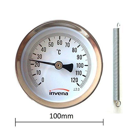invena MAISON /& industriel /à clipser Tuyau Thermom/ètre Jauge de Temp/érature Cadran avec ressort 100 mm 0-120