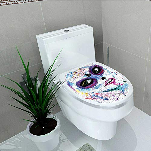 Analisa A. Houk Toilet Seat Wall Stickers Paper Halloween Lady Sugar Skull Make up Creepy Dead Face Decals DIY Decoration W14 x -
