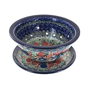 Blue Rose Polish Pottery Blush Bouquet Berry Bowl & Plate