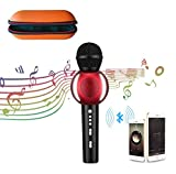 Karaoke Microphone Wireless AT MOUSE Bluetooth Speaker Mic with 2600mAh 3-in-1 Protable KTV Microphone for Apple iphone Andriod Smartphone PC Smart TV Home KTV(Red)