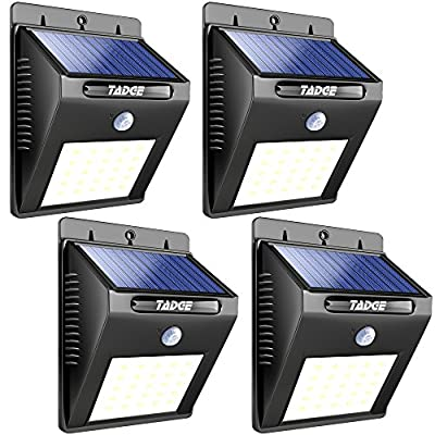 [25 LED] Solar Outdoor Patio Deck Lights – SUPER BRIGHT Outside Motion Sensor Security Sun Powered Lighting For Yard, Backyard, Pathway, & Driveway, 4 Pack