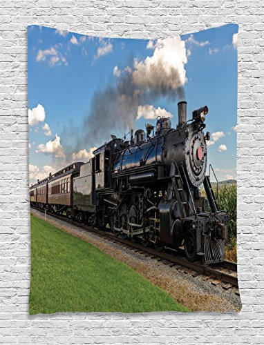 Ambesonne Steam Engine Tapestry Wall Hanging, Vintage Black Locomotive in Countryside Landscape Green Grass Puff Train Picture, Bedroom Living Room Dorm Decor, 60 W x 80 L inches, Blue Green (Train Engine Wall)