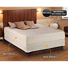 "Comfort Pedic Firm Pillow Top (Eurotop) Mattress & Box Spring (Queen - 60""x80""x11"") - Sleep System with Enhanced Foam Encased Support- Fully Assembled, Plush Knit Cover"