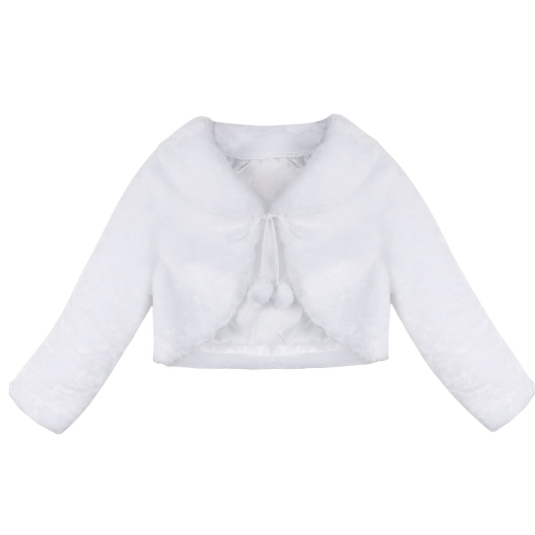 CHICTRY Flower Girl Jackets Coats Child Cute Faux-Fur Long Sleeve Wedding Party Winter Outwear