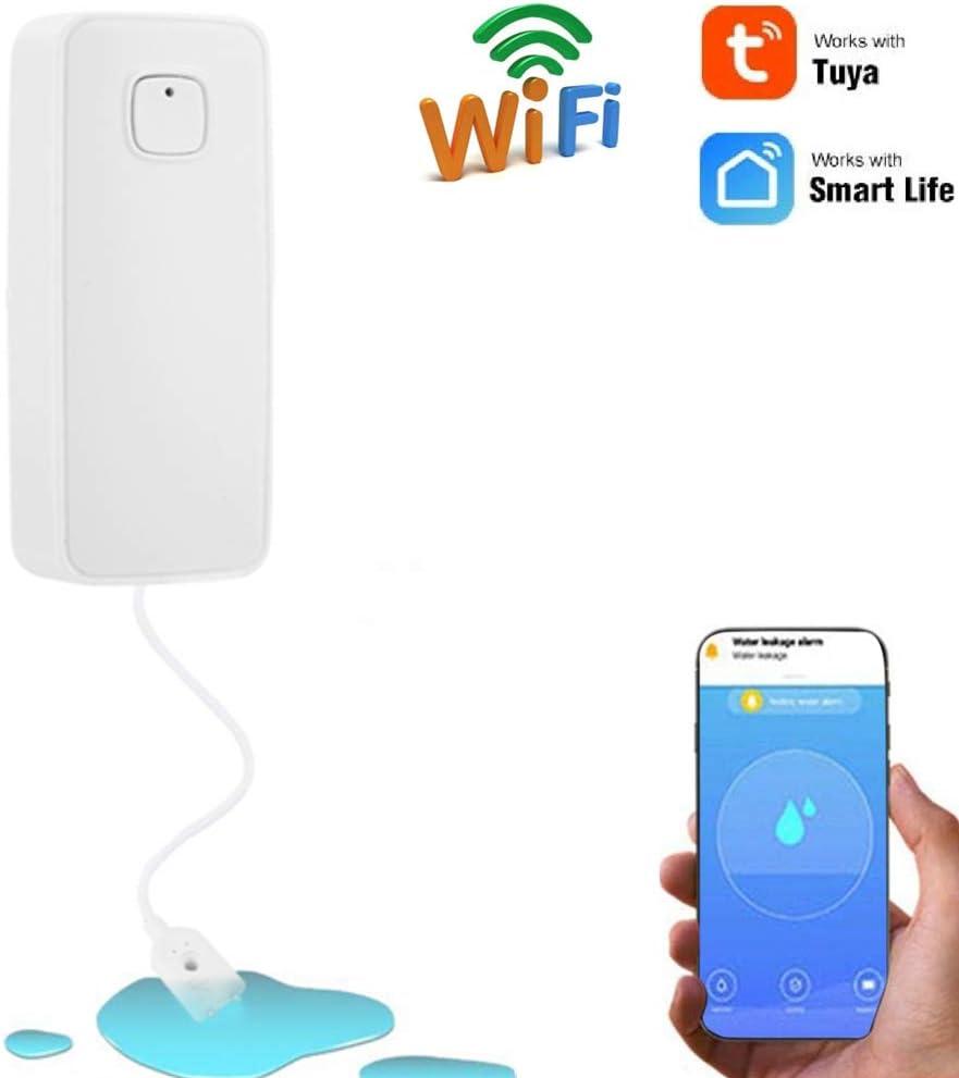 Smart WiFi Wasserflutsensor Wasserleckdetektor App Benachrichtigung Gratis 24//7 Home Wasserleckalarm Denash Wasserstandsalarm