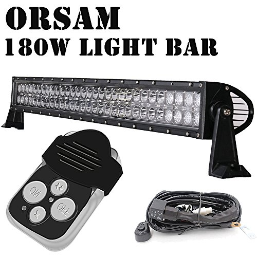 (Quakeworld 34 Inch CREE 180w LED Work Light Bar Spot and Flood Combo Beam IP67 Waterproof Offroad Light for Truck Car ATV SUV Jeep Boat 4WD ATV Auxiliary Driving Lamp - with Wiring Harness Kit)