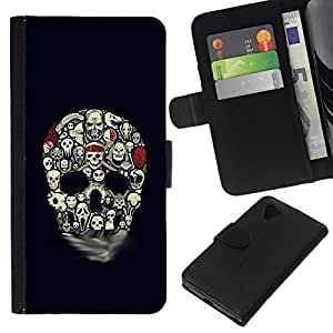 All Phone Most Case / Oferta Especial Cáscara Funda de cuero Monedero Cubierta de proteccion Caso / Wallet Case for LG Nexus 5 D820 D821 // Skull Pattern Haunted Halloween Black