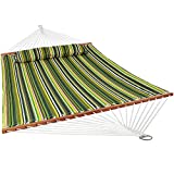 Sunnydaze 2 Person Double Hammock with Spreader Bar, Quilted Fabric Bed - for Outdoor Patio, Porch, and Yard (Melon Stripe)