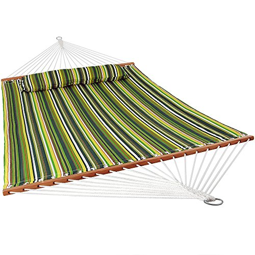 (Sunnydaze 2 Person Double Hammock with Spreader Bar, Quilted Fabric Bed - for Outdoor Patio, Porch, and Yard (Melon Stripe))