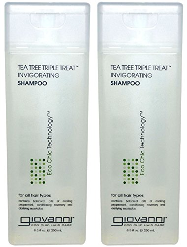 Giovanni Invigorating Shampoo Organic Tea Tree Triple Threat with Aloe Vera, Lavender, Rosemary and Sage, for All Hair Types, 8.5 Fl. Oz.