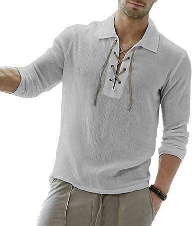 Hombre Vintage Camisa Medieval Renacimiento Camisa Victoria Estilo Pirata T-Shirt Suelto Color Sólido Tops Tamaño Grande S-3XL: Amazon.es: Ropa y accesorios