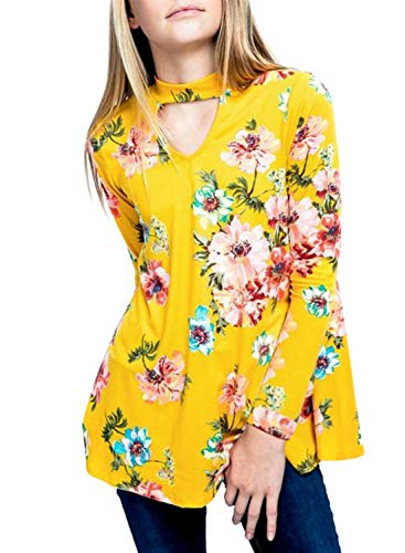- Bulawoo Girls Kids Cute T Shirts Floral Print 3/4 Sleeve Key Hole Front Tops Blouse Birthday Shirt Fashion Outfits Size 6 7 Yellow2