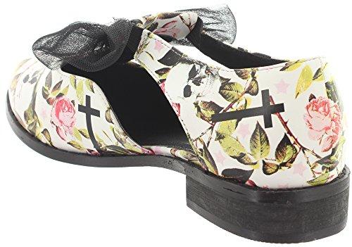 Iron Blanco Negro Cordones Sintético De Mujer Tela Zapatos Para Fist rx8p67qwnr