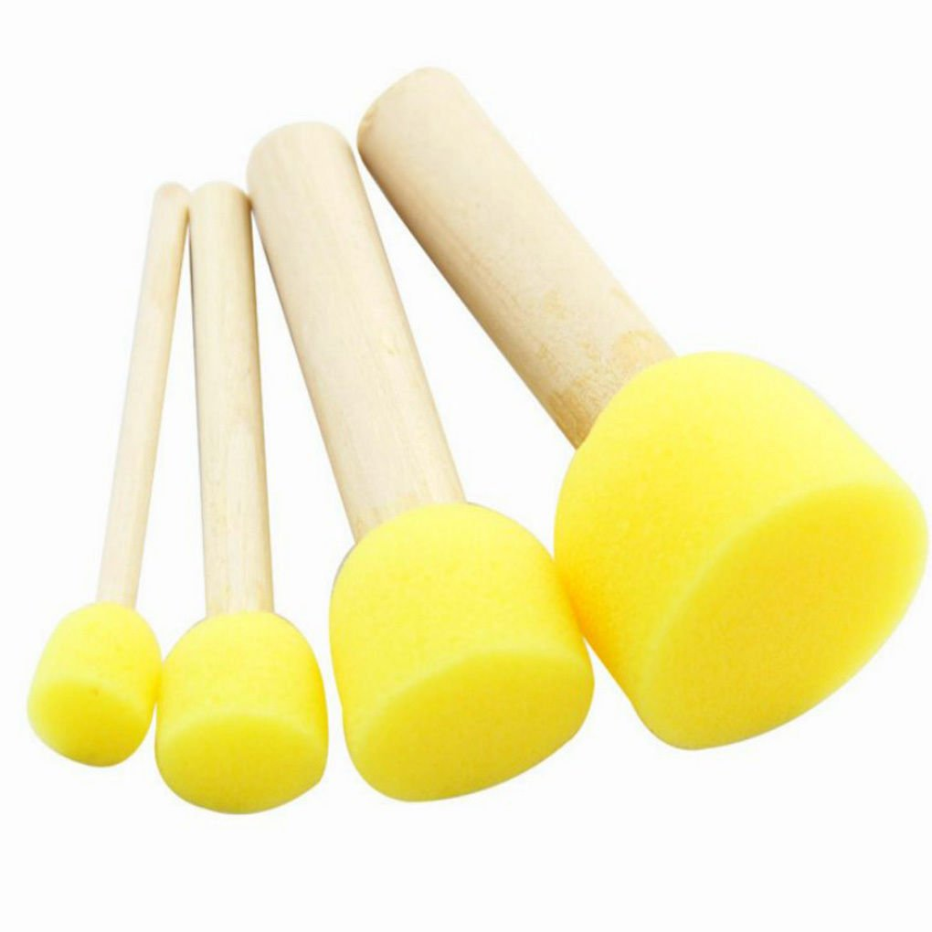 New 5Pcs/set Yellow Sponge Brush Seal Sponge Paint Brush Kids Painting Toy