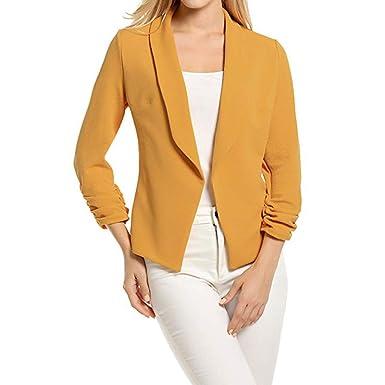 SHOBDW Manteau Femme Hiver Blazer à Manches 34 Blouson Cardigan Court Devant Ouvert de Costume Veste Hoodie de Bureau Pullover Sweatshirt à Capuche