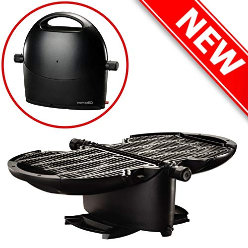 NOMADIQ Portable Propane Gas Grill | Small, Mini, Lightweight Tabletop BBQ | Perfect for Camping, Tailgating, Outdoor…