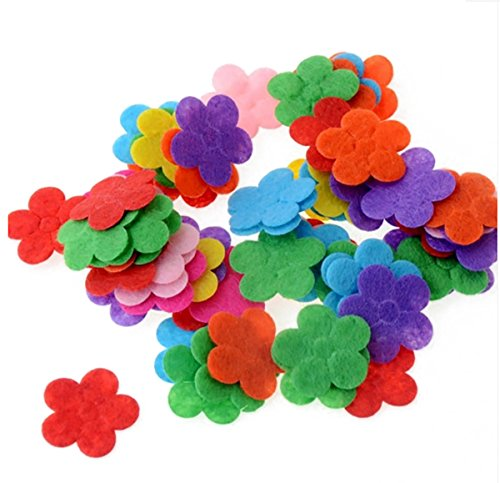 200PCS Assorted Shape Multicolor Fabric Embellishments Felt Pads Appliques for DIY Craft Decoration and Sewing Handcraft (5 petal flowers)