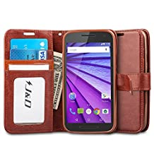 Motorola Moto G (3rd Generation) Case, J&D [Stand View] Moto G 3rd Gen Case Wallet Case [Slim Fit] [Stand Feature] Premium Protective Case Wallet Leather Case for Moto G (3rd Gen, 2015) (Brown)