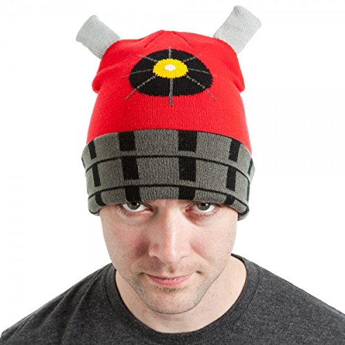 Dalek Hat (Doctor Dr. Who Red Dalek Cuffed Beanie Hat)