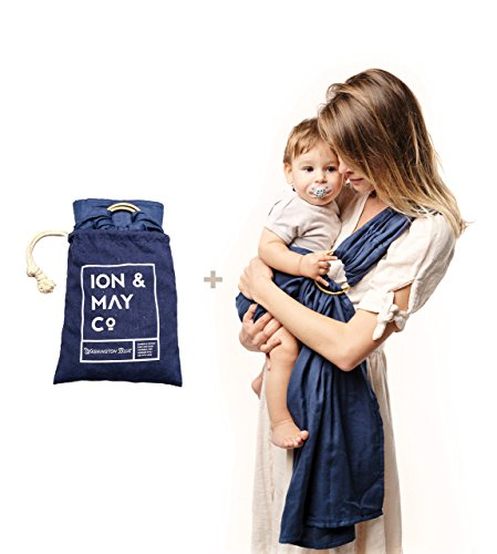 Linen Sling (Baby Carrier by ION x MAY | Natural Collection | Super Soft and Breathable Bamboo Baby Ring Sling | Baby Sling for Baby Shower | Mom Gift | With Linen Carry Bag | Washington Blue)