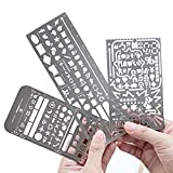 Pack of 3 Stainless Steel Drawing Ruler Painting Stencils Scale Template Sets Graphics Stencils Number Template Ruler Stencils (pack of 3)