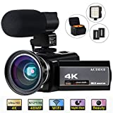 "ACTITOP HDV-UHD-02 Video Camcorder, Video Camera 48MP UHD Wi-Fi Digital 16X Zoom IR Night Vision 3"" IPS and Travel Bag, Black"