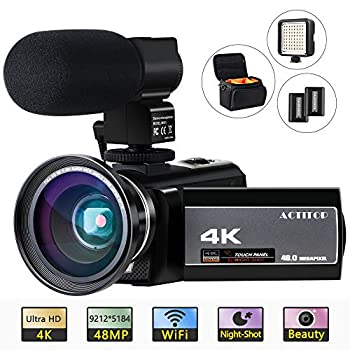 Image of Camcorders Camcorder, ACTITOP 4K Video Camera Camcorders 48MP UHD WiFi IR Night Vision Video Camera 16X Digital Zoom 3'' IPS Touch Screen with Microphone,Wide Angle Lens,LED Light and Bag