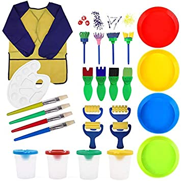 plastic palettes brushes and paint sponge brushes Shuanghao 26 childrens handmade diy art painting sets multi-functional art teaching tools. long-sleeve waterproof apron a yellow