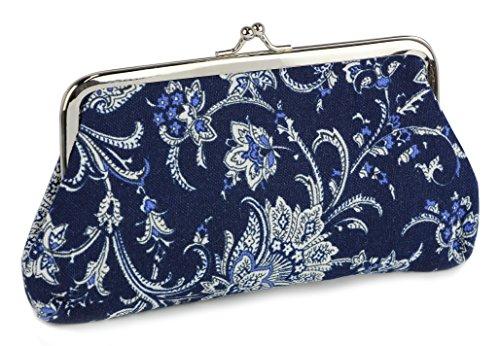 Pouch Lock Kiss (Micom Retro Printing Canvas Cute Kiss-lock Clutch Coin Purse Wallet for Women,girls (Blue))