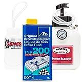 Brake Bleeding Kit with ATE Type 200 Brake Fluid, Bleeder Bottle, and Motive Power Bleeder 0100