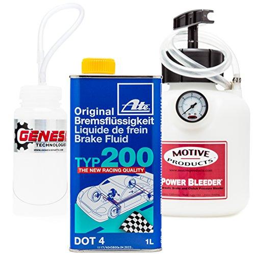 Brake Bleeding Kit with ATE Type 200 Brake Fluid, Bleeder Bottle, and Motive Power Bleeder 0100 - Bottle Bleeder