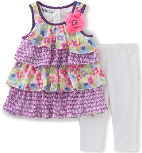 Kids Headquarters Baby Girls' 2 Pieces Pants Set-Georgette Tunic, Purple, (Georgette Two Piece)