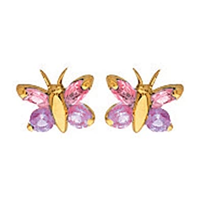 18k Yellow Gold Pink Butterfly Stud Earrings So Chic Jewels