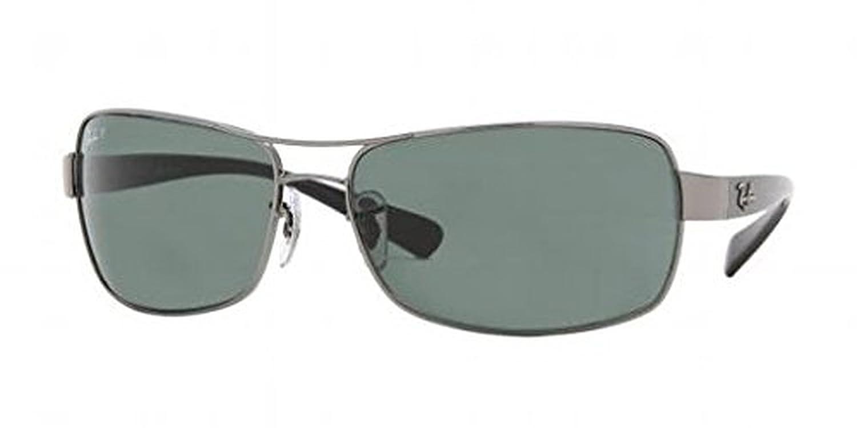 57dbbe51f2 Amazon.com  Ray-Ban Undercurrent RB 3379 Sunglasses Gunmetal Crystal Green  Polarized 64mm   HDO Cleaning Carekit Bundle  Clothing
