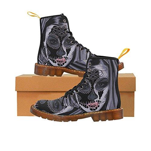 D-story Zapatos El Día De Las Mujeres Muertas Lace Up Martin Botas Para Las Mujeres