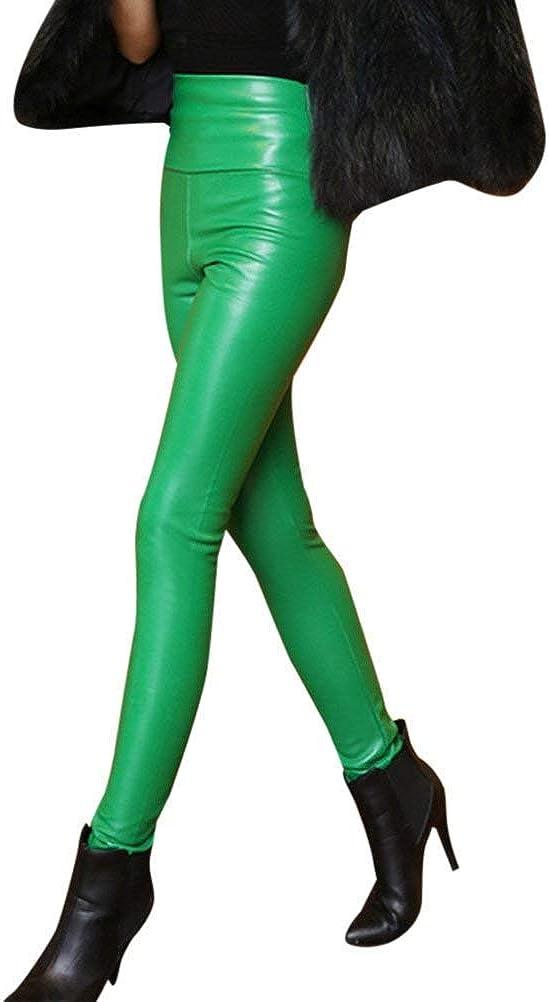 Cintura Alta Pantalones De Cuero De Terciopelo Imitación Stretch Pantalones Damas Casuales Cálido Invierno Leggings Diseño De Moda Señoras Pantalones De Cuero