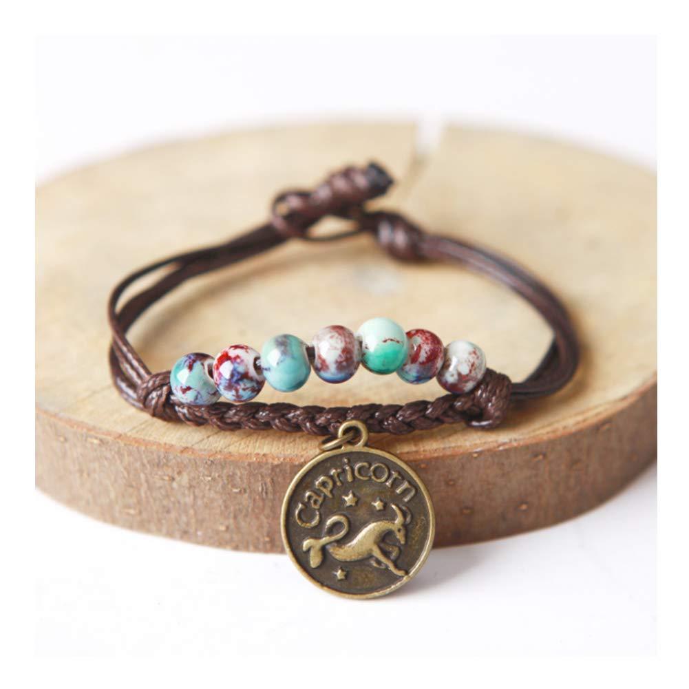 URUHR Women Girls Horoscope Zodiac 12 Constellation Astrology Ceramic Beads with Constellation Pattern Pendant Charm Bracelets