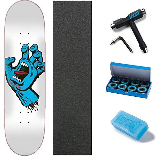 "Santa Cruz Skateboards Deck Screaming Hand Taper Tip White 8.375"" W/Mob Grip, CCS Skate Tool, Wax, and ABEC 7 Bearings"