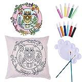 1pc Owl DIY Art Fabric Coloring Painting Pillow Cushion Cover Craft Gift DIY Kit for Kids Teen Girls Him Her Boyfriend Girlfriend