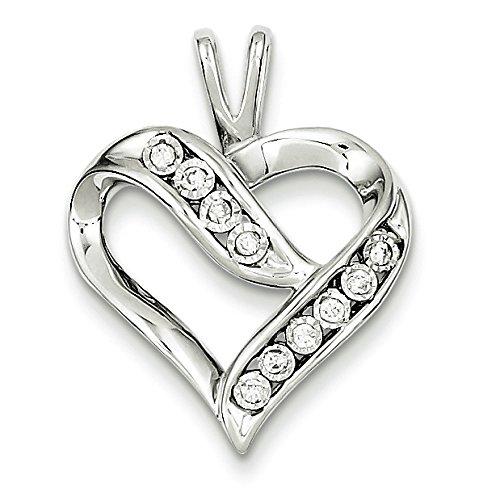 En argent sterling Pendentif Coeur Diamant