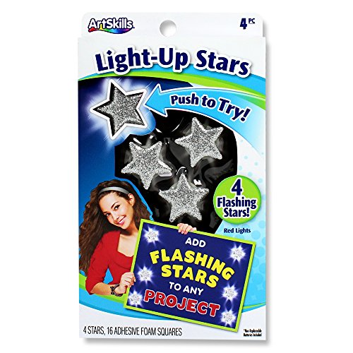 ArtSkills Poster Stars, 4 Flashing Stars with 5 LED Lights Each, Peel-n-Stick Foam Squares (PA-1324)
