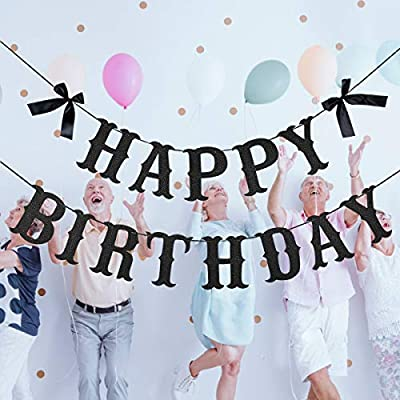 Black Glittery Happy Birthday Alphabet Banner for Birthday Party Decorations,Kids Birthday Party Supplies- NO DIY Required: Toys & Games