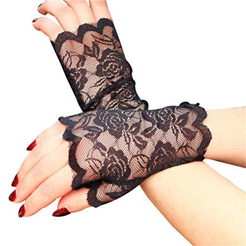 LUOEM Women Lace Fingerless Gloves Half Finger Bridal Gloves UV Protection Fingerless Gloves Sunproof Gloves (Black) -
