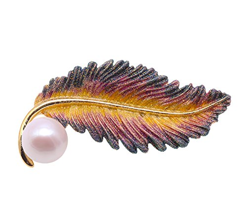 (JYX Pearl Leaf-Style 11.5mm White Freshwater Cultured Pearl Brooches Pins)
