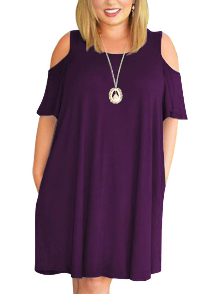 Nemidor Women's Cold Shoulder Plus Size Casual T-Shirt Swing Dress with Pockets (18W, Darkpurple)
