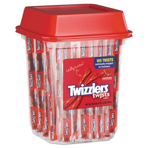 Strawberry Twizzlers Licorice, Individually Wrapped, 2lb Tub, Sold as 1 Each