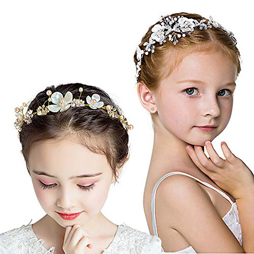 ZOCONE Rhinestones Floral Headband Pearls Flower Girl Headpiece Wedding Garland Photography Hair Accessories 2 Pack