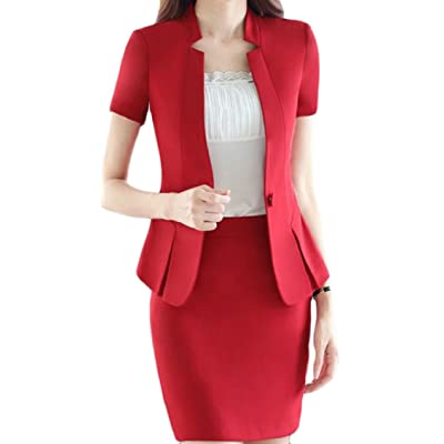 Qiangjinjiu Womens Long Sleeved Solid-Colored Slim Fitted One Button Set Blazers