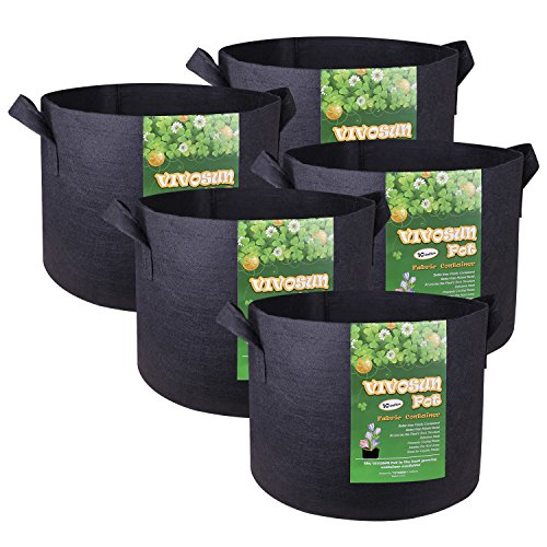vivosun 5pack 10 gallon plant grow bags premium series