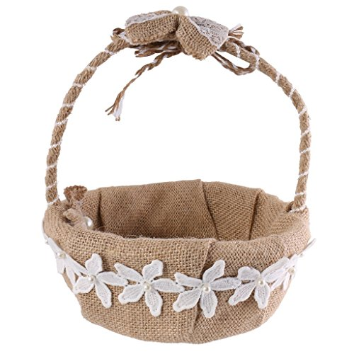 Wedding Flower Basket, Vintage Rustic Burlap Jute Bow Wedding Girls Flower Basket, Wedding Romantic Flower Girl Baskets Flower Petal Holder for Wedding Ceremony Party Birthday Party Baby Shower Favors by WElinks